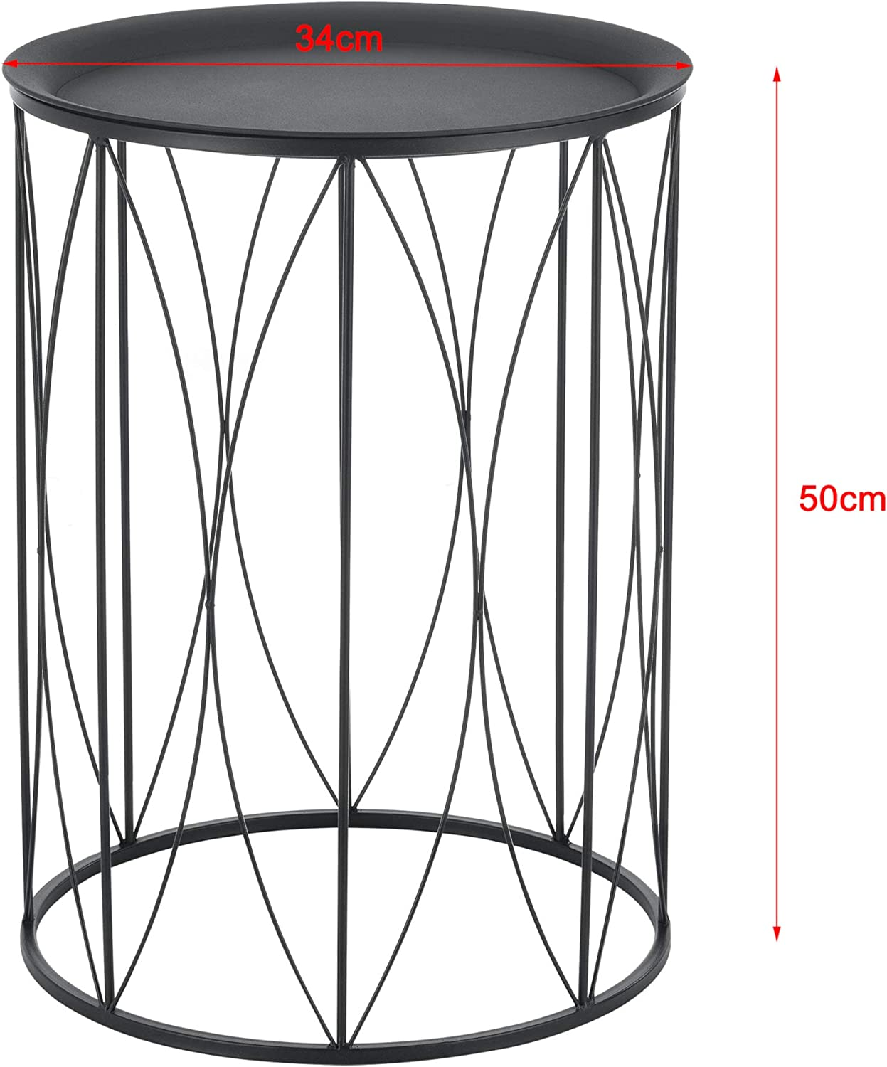 en.casa Coffee Table Nesting Table 2-Piece Set Storage Surface Different Sizes Special Frame Pattern Black