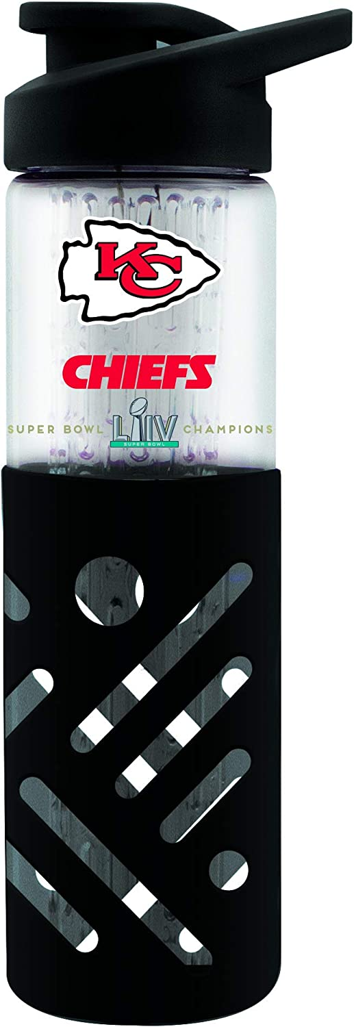 54 Clear Champions Kansas City Chiefs Glass Water Bottle with Silicon Protector Sleeve 23 OZ Duck House NFL 2020 Super Bowl LIV LGB2020A One Size