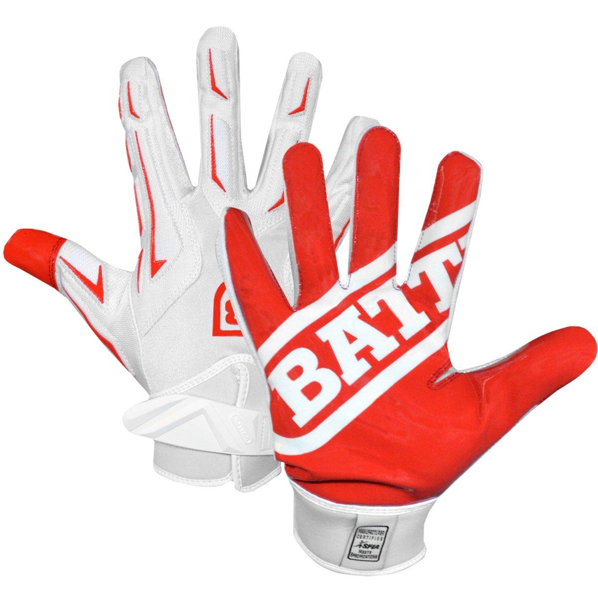 Battle Sports Hybrid Gloves - Red / White - Youth - XL