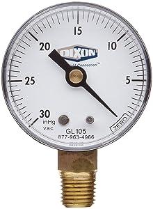 "Dixon Valve GL105 Vacuum Gauge, 1/4"" Lower Mount, 2"" Face, 30"" Hg"