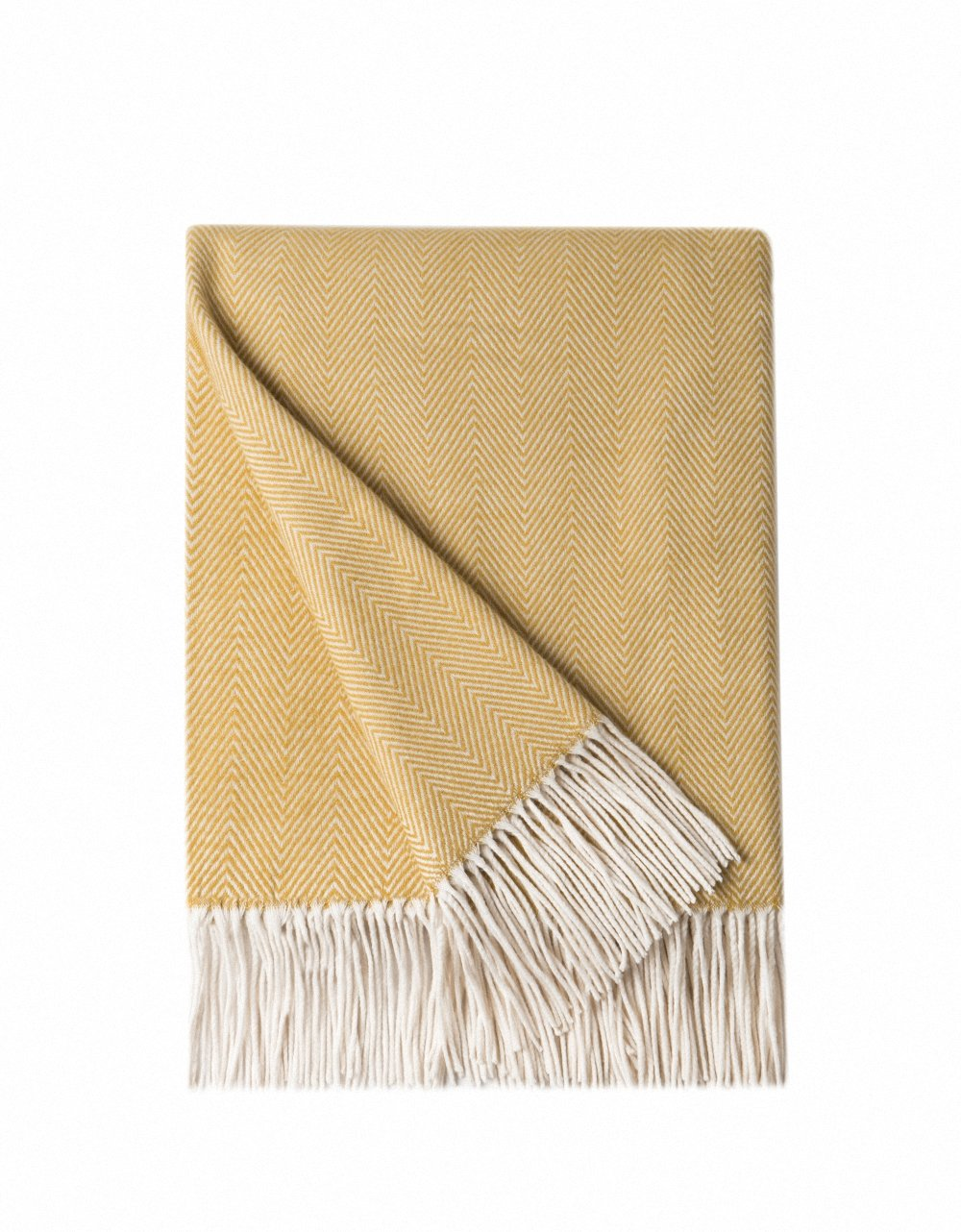 Farmhouse Fall Decor Ideas - Herringbone cashmere blanket in orange, blue, and yellow