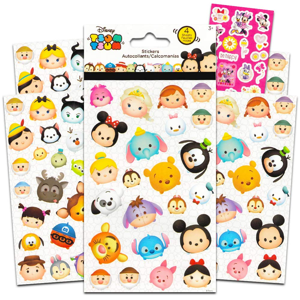 Disney tsum tsum stickers 4 sheets of stickers featuring mickey mouse minnie mouse also featuring tsum tsum characters from frozen toy story