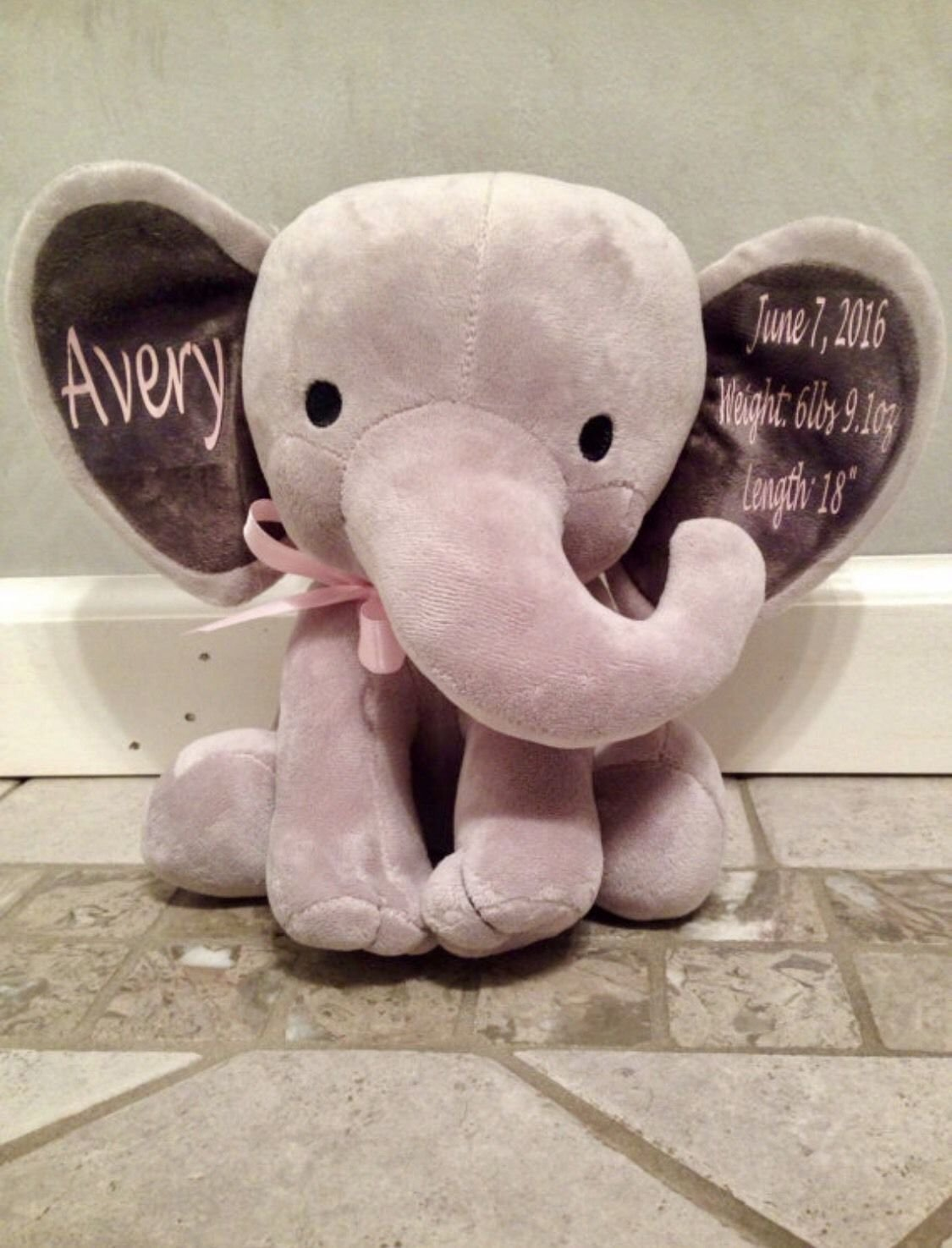 Personalized 9 Plush Stuffed Animal Elephant Bear Baptism, Christening, Confirmation, Baby Dedication Gift