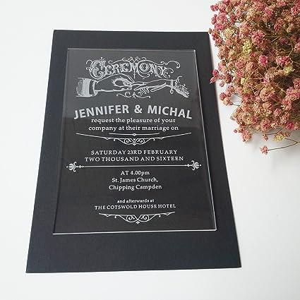 Amazon 5x7inch clear acrylic wedding invitation card rectangle 5x7inch clear acrylic wedding invitation card rectangle shape laser engraved letters 75pcs per lot stopboris Gallery