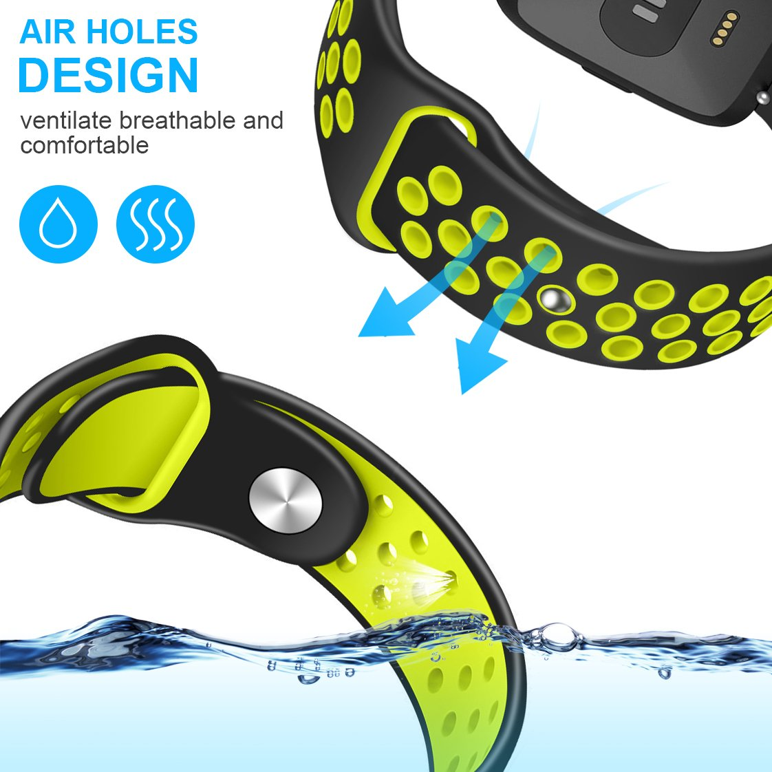 Humenn Bands Compatible for Fitbit Versa Accessory Breathable Sport Bands Air Holes Compatible Fitbit Versa Smartwatch HUMENN Inc.