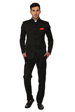 a5bf84308fc LUXURAZI Men's Terry Rayon Supremely Sophisticated and Utterly Modern  Jodhpuri Suit (Black, ...
