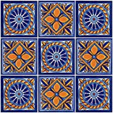 "Color y Tradicion 9 Mexican Tiles 4""x 4"" Hand Painted Talavera F-60"