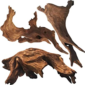 WDEFUN 3 Pieces Natural Driftwood for Aquarium Decor,Assorted Branches 7-10