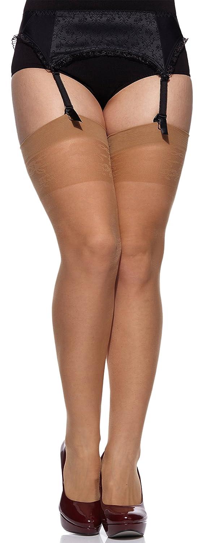 Merry Style Women's Suspender Stockings Plus Size MS 167 20 DEN XL/XXL)