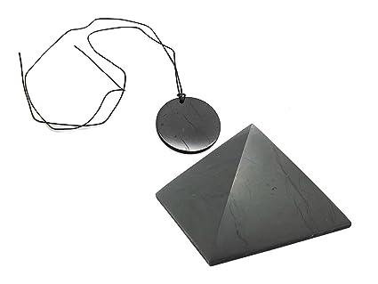 Karelian Heritage Genuine Natural Shungite Amulet and EMF Protection  Pyramid Protection Set (Circle) S190