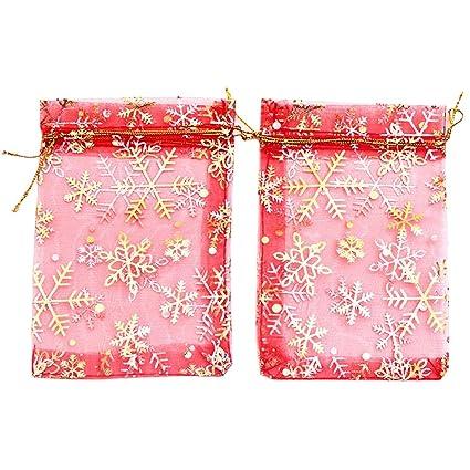 YFZYT Net Yarn Organza Bags Snowflake Jewelry Bolsas de Envoltura Gasa Cordones Bolsillos cordón Bolsas bolsita para el Banquete Boda Regalo del ...