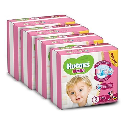 171 opinioni per Huggies Pannolini Bimba, Taglia 3 (4-9 kg), 4 Confezioni da 20 [80 Pannolini]