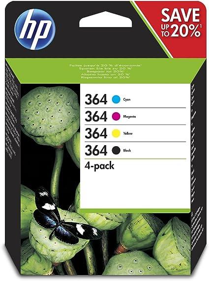 HP 364 - Cartucho de Tinta para Impresoras, Pack Negro, Cián ...