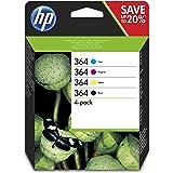 HP 364XL N9J74AE, Pack de 4, Negro, Cian, Magenta y Amarillo, Cartuchos Originales, para impresoras HP Photosmart serie C5300, C6300, B210, B110 y Deskjet serie 3520: Hp: Amazon.es: Oficina y papelería