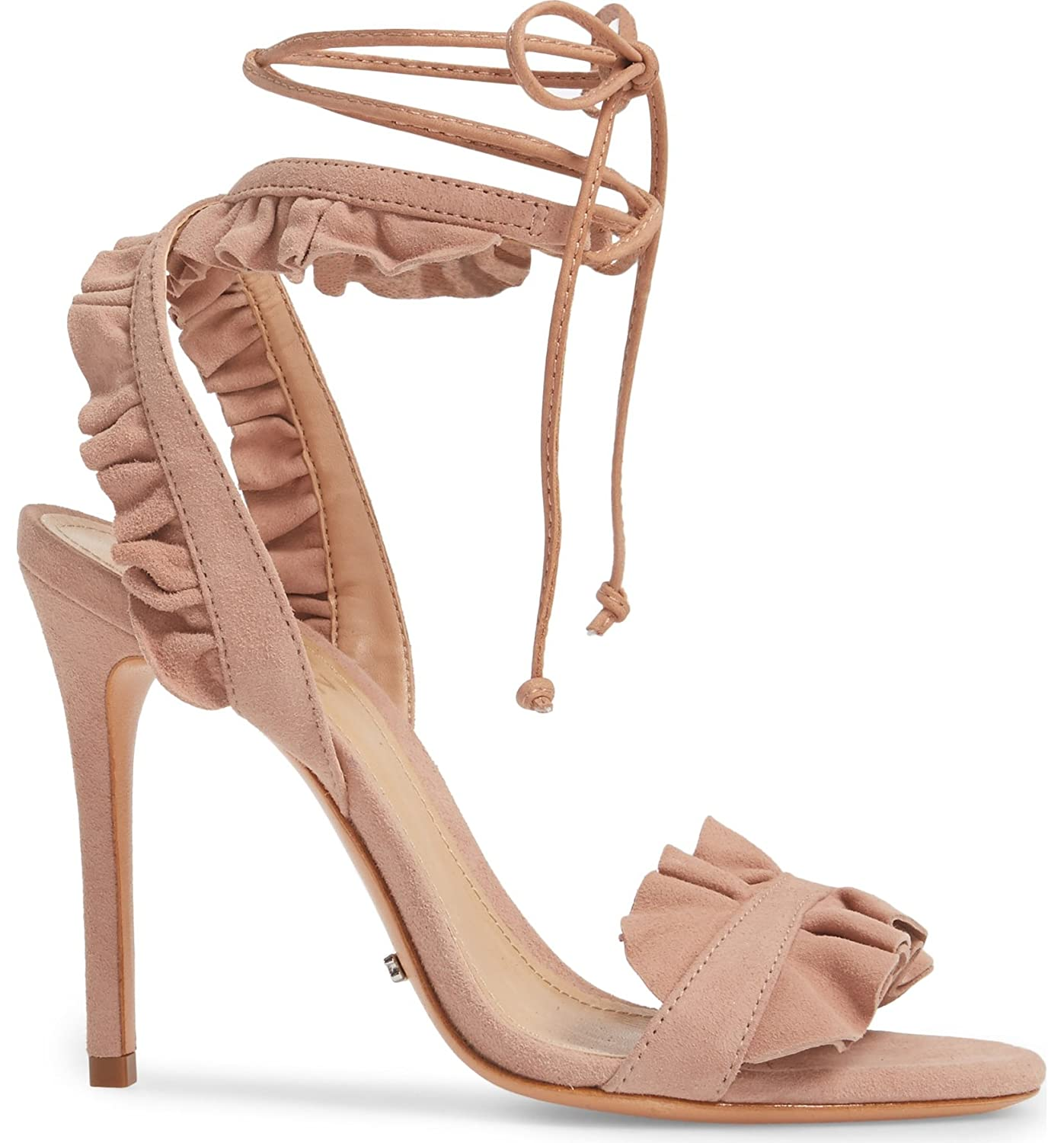 430b6a50598d4 SCHUTZ Irem Peach Blush Suede Tie up Ruffle High Heel Single Sole ...