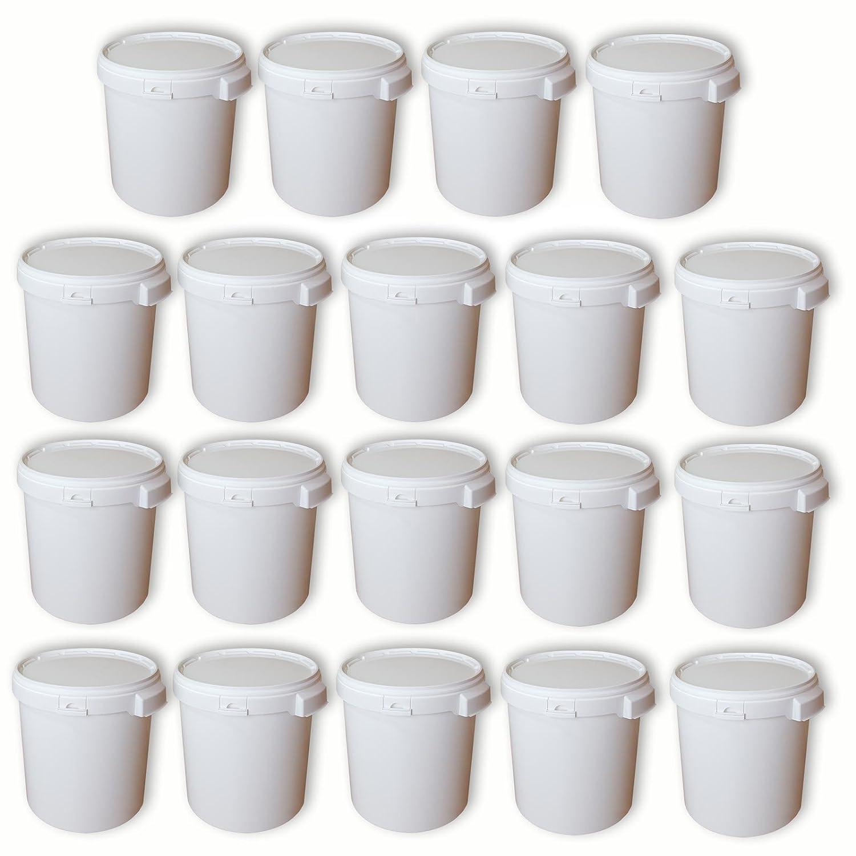 Lote de 19 cubos de plá stico, 30 L con tapa, Hobbock PP calidad alimentaria (19x22049) Wilai GmbH