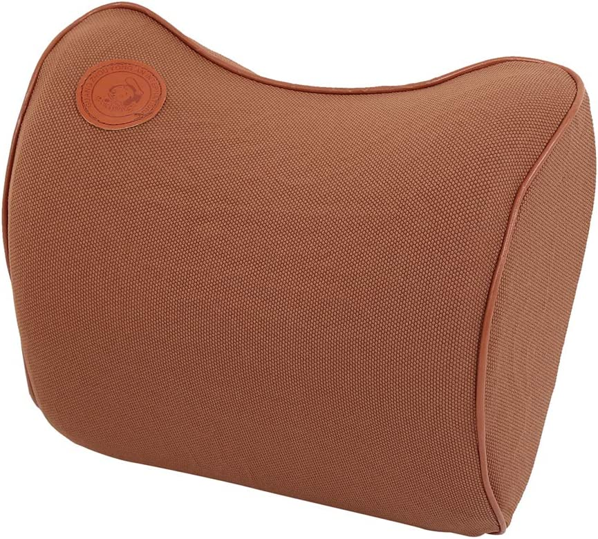 X AUTOHAUX Universal Car Seat Neck Pillow Balanced Softness Memory Foam Headrests Pillow with Adjustable Strap Brown for Car Seat