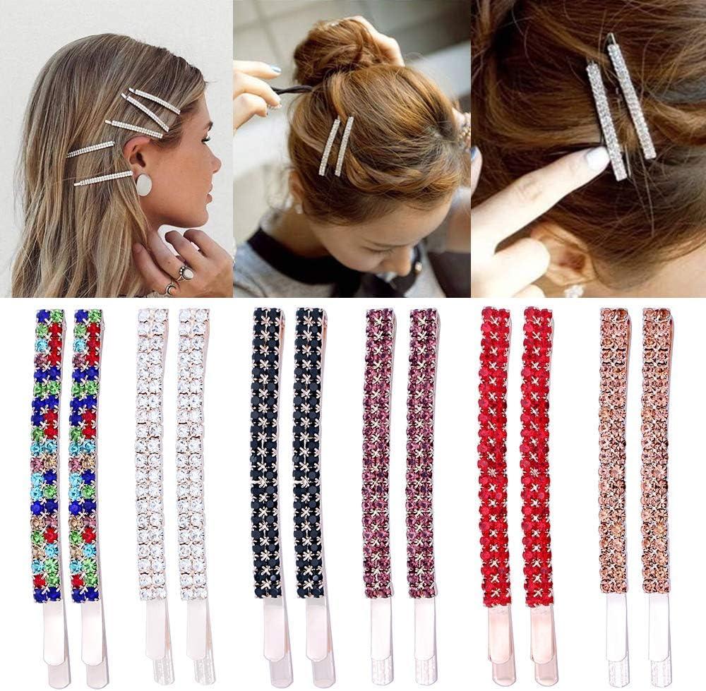 12 Piezas Rhinestone Bobby Pins Crystal Horquillas para el pelo Pinzas para el cabello de metal Decoración para mujeres niñas