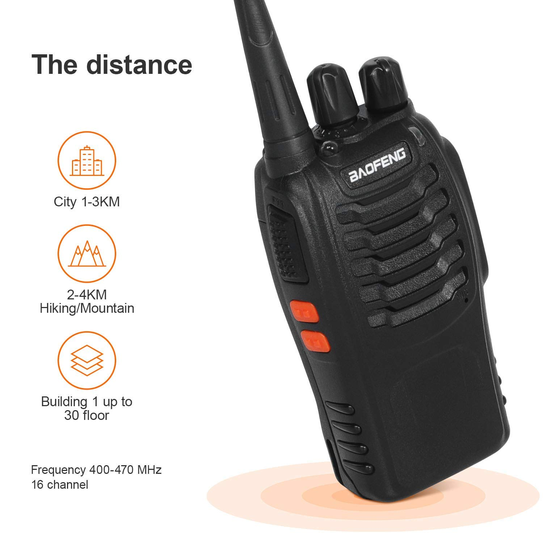 2PCS Walkie Talkie Recargable Bidireccional Transmisores-receptores Radio 5W 16 Canales 1500mah CTCSS DCS con el Auricular Incorporado Antorcha de LED