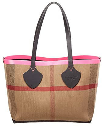 7e0eda3917c3 Amazon.com  Burberry Women s Medium Giant Reversible Tote in Canvas and  Leather Pink  Clothing