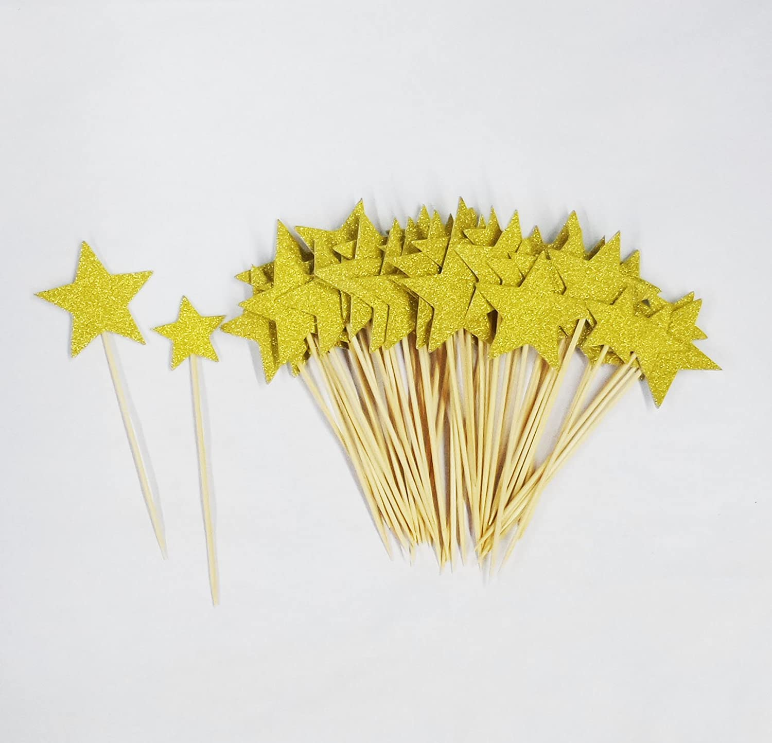 Lauren 48 Pcs Golden Star Two Size Cupcake Decorative Toppers Cake Decorating Tools for Party
