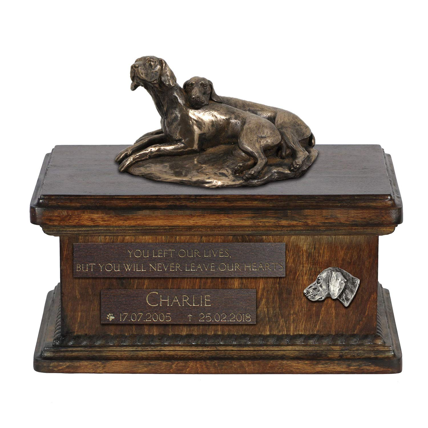 Weimaraner, Urn for Dog Ashes Memorial with Statue, Pet's Name and Quote ArtDog Personalized
