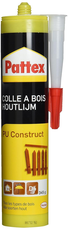 Pattex Colle à Bois PU Construct - Adhésifs (Bouteille compressible, Noir, Jaune, 345 g, 1 pièce(s)) 1 pièce(s)) 5272350
