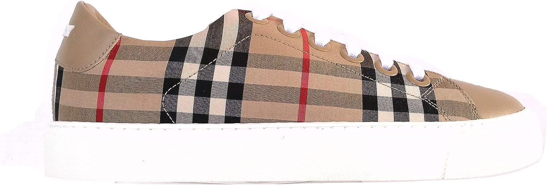 Burberry Zapatillas deportivas para mujer de tela y piel 8017249 Check Beige