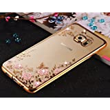 LOXXO Samsung A8 - Shockproof Silicone Soft TPU Transparent Auora Flower Case with Sparkle Swarovski Crystals for Samsung A8 Back Cover (Rose Gold)
