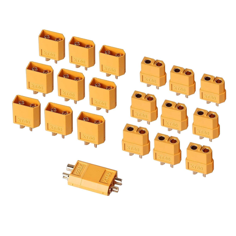 AUTOUTLET 20PCS 10Pairs XT60 Bullet Connectors Plugs Male & Female For RC Car/Boat/LiPo Battery 71Pta8rA8bL