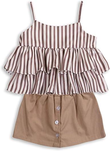 LittleSpring Little Girls Summer Outfit Stripe Halter Top and Shorts Set