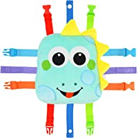 Toddler Early Learning Toy with Buckles, Self Adhesive Tape, Crinkle Paper and Numbers, Kids Cartoon Travel Toy, Preschool Toy for Developing Fine Motor Skills, Ideal Gift for Babies (Dinosaur)