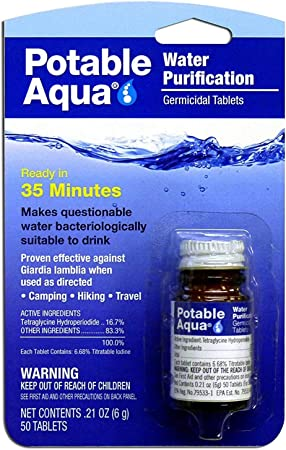 WATER PURIFICATION IODINE TABLETS GERMICIDAL 50 PER BOTTLE CLEANS IN 35 MINUTES
