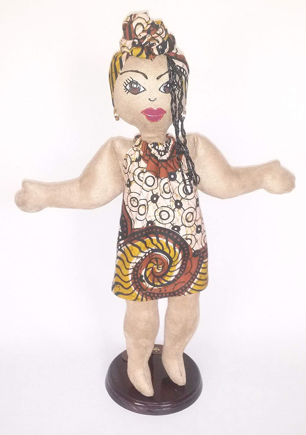 African Inspired Hand Painted Black Doll Maker Multicultural Doll Black Doll 14 inch Doll Head Wrap African American Doll Natural Hair Styles Ethnic Doll Handcrafted Collectible Doll