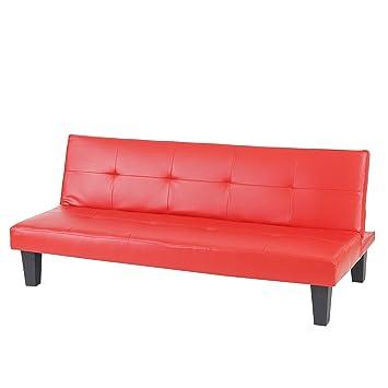Mendler 3er Sofa Couch Schlafsofa Mons Kunstleder Rot