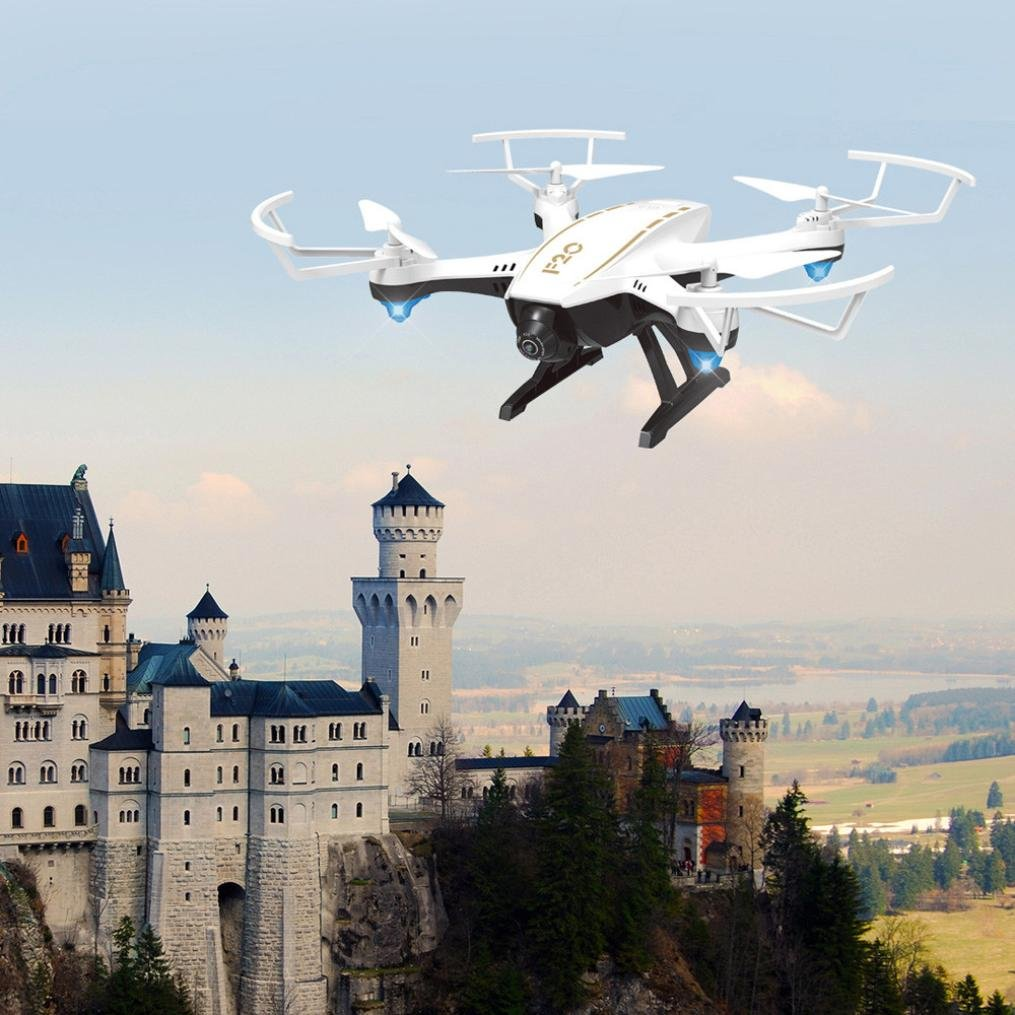 Lanspo 4CH RC RC RC Drone, F20 2,4G 2,0MP WIFI FPV Optische intelligente Strömung Dual Weitwinkel Kamera Quadcopter, (Flow Dual + Weitwinkel) 442154