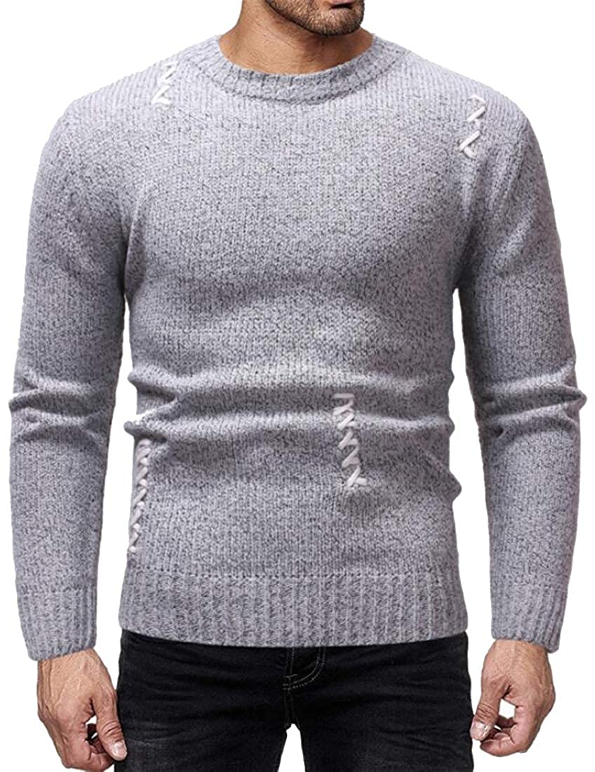 XiaoTianXinMen XTX Mens Long Sleeve Warm Knitting Casual Round Neck Winter Pullover Sweaters