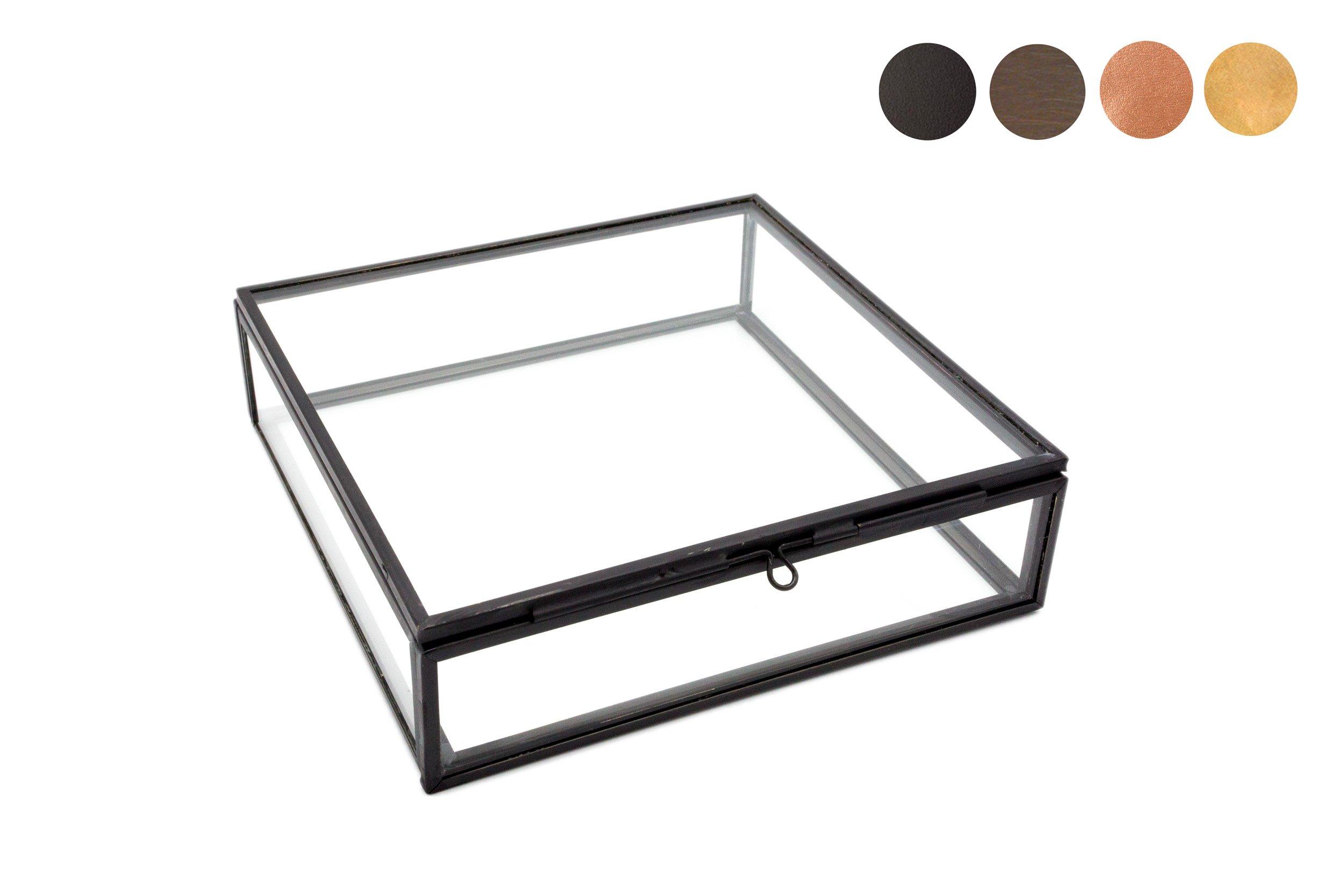 Photographer Boxes 5x5 Glass Photo Box, Proof Box, Shadow Box, Card Box, Jewelry Box, Black Glass Box