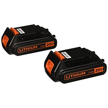BLACK+DECKER 20V MAX Lithium Battery 1.3 Amp Hour, 2-Pack (LBXR20B-2)