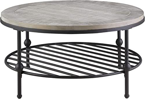 Willis Round Coffee Table in Antique Gray with Wood Top, Metal Base, And Open Storage Shelf, by Artum Hill