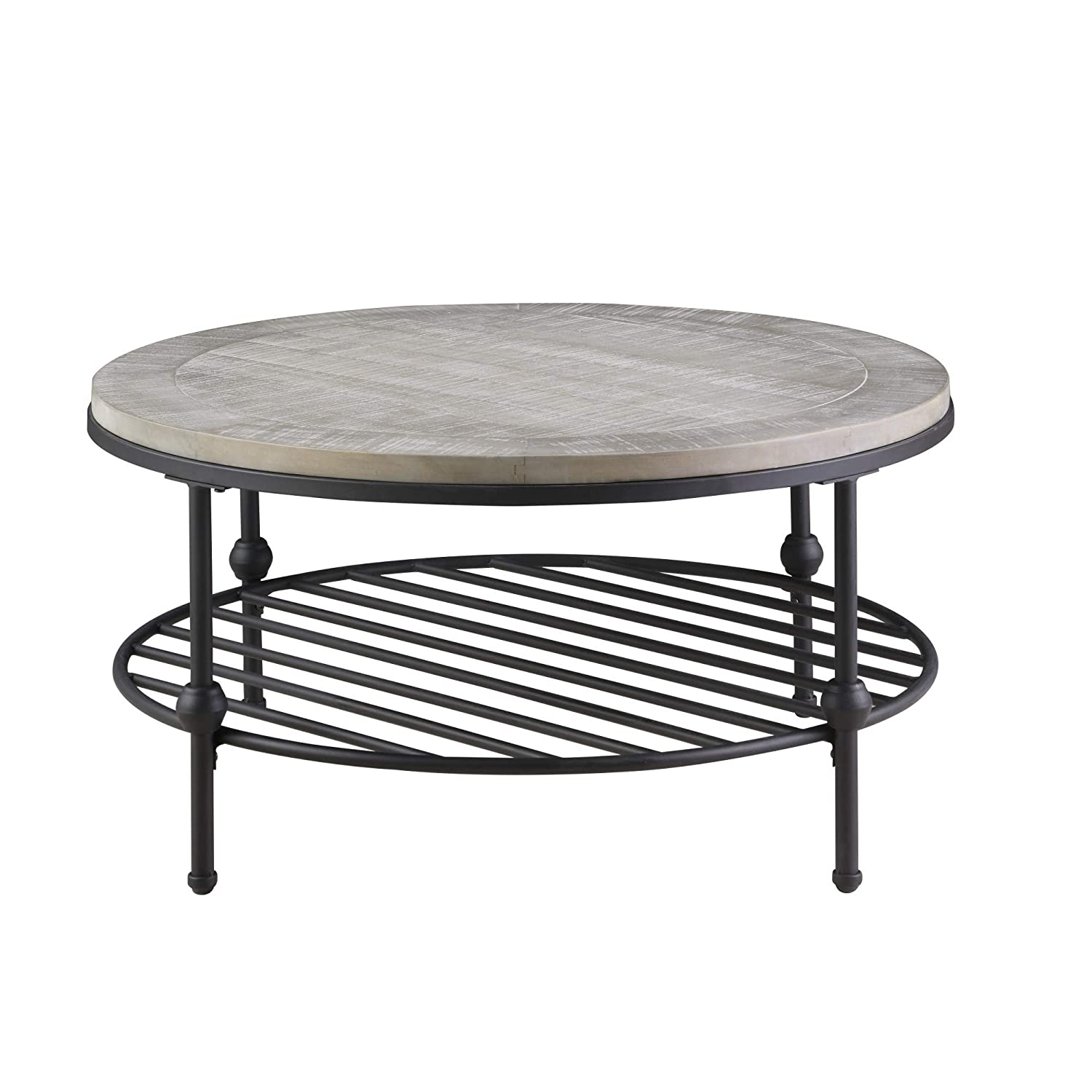 Magnificent Willis Round Coffee Table In Antique Gray With Wood Top Metal Base And Open Storage Shelf By Artum Hill Squirreltailoven Fun Painted Chair Ideas Images Squirreltailovenorg