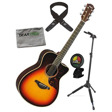 Yamaha ac3r TBS una serie tamaño concierto Sunburst acústica guitarra eléctrica w/duro bolsa, gamuza, Lock-It correa, soporte de bloqueo, y sintonizador: ...