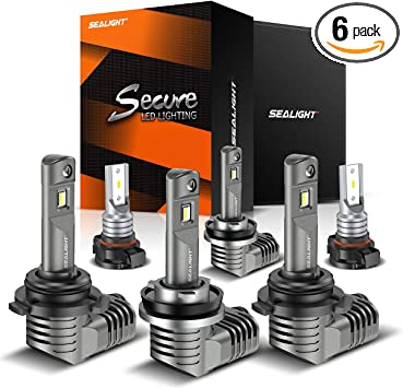 6000K Cool White Light Replacement with Fan SEALIGHT 9005 9006 LED Headlight Bulbs Combo 1:1 Mini Size HB3 High Beam HB4 Low Beam Kit