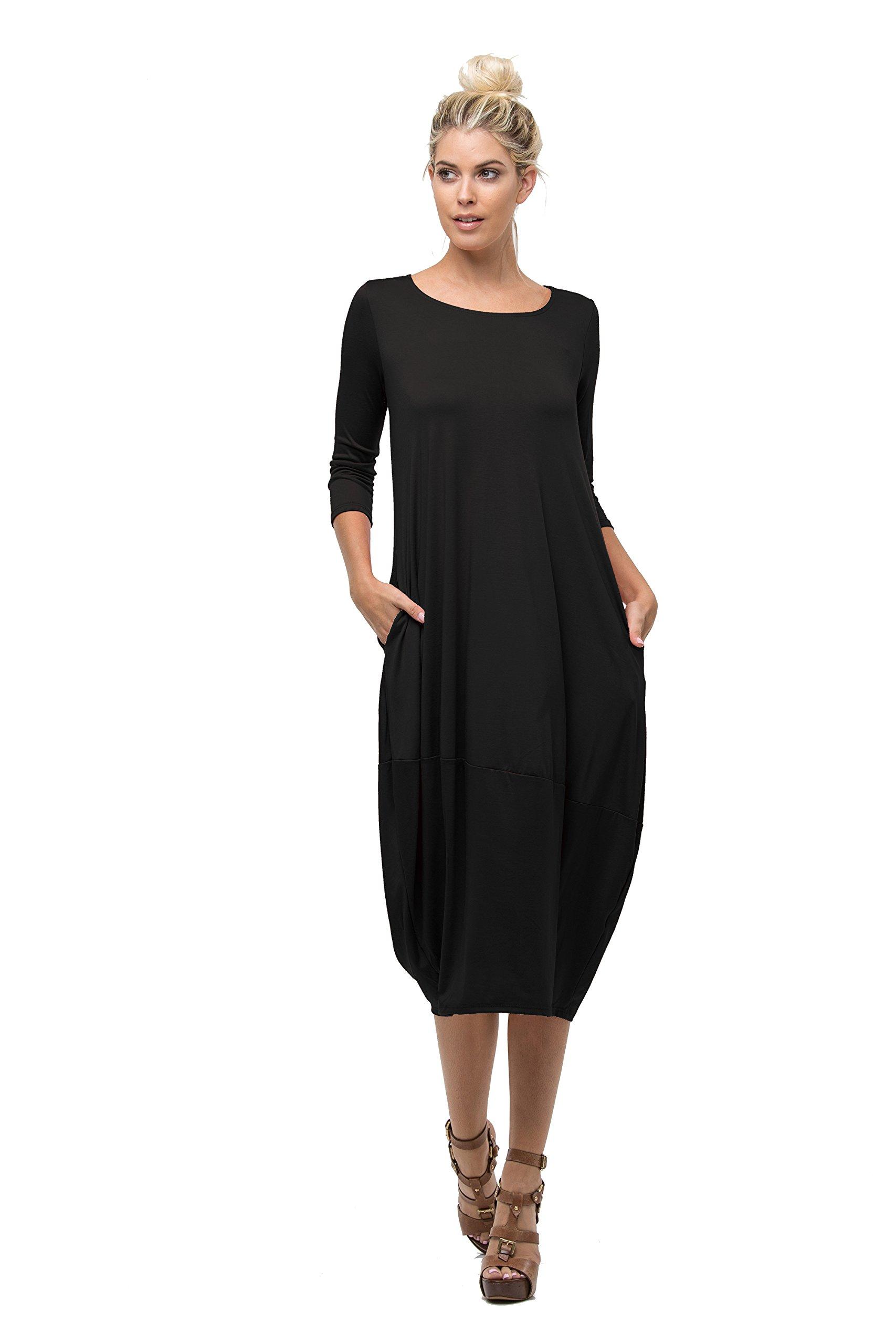 Love In D6123 Ladies Round Neck Bubble Hem Long Dress W/Pocket Black M
