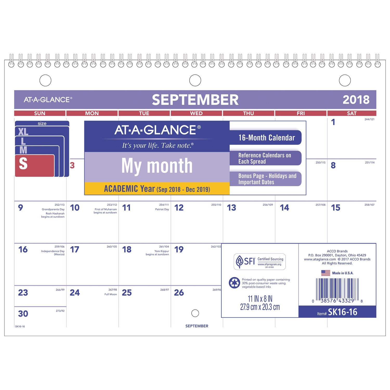 at-A-Glance 2018-2019 Academic Year Desk & Wall Calendar, 11 x 8, Small, Wirebound (SK1616)