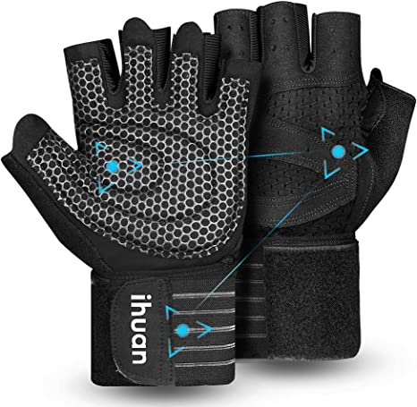 Updated 2021 Ventilated Weight Lifting Gym Workout Gloves Full Finger with Wrist Wrap Support for Men & Women