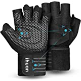 ihuan Updated 2020 Ventilated Weight Lifting Gym Workout Gloves with Wrist Wrap Support for Men & Women, Full Palm…