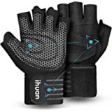 Updated 2021 Ventilated Weight Lifting Gym Workout Gloves Full Finger with Wrist Wrap Support for Men & Women, Full Palm…