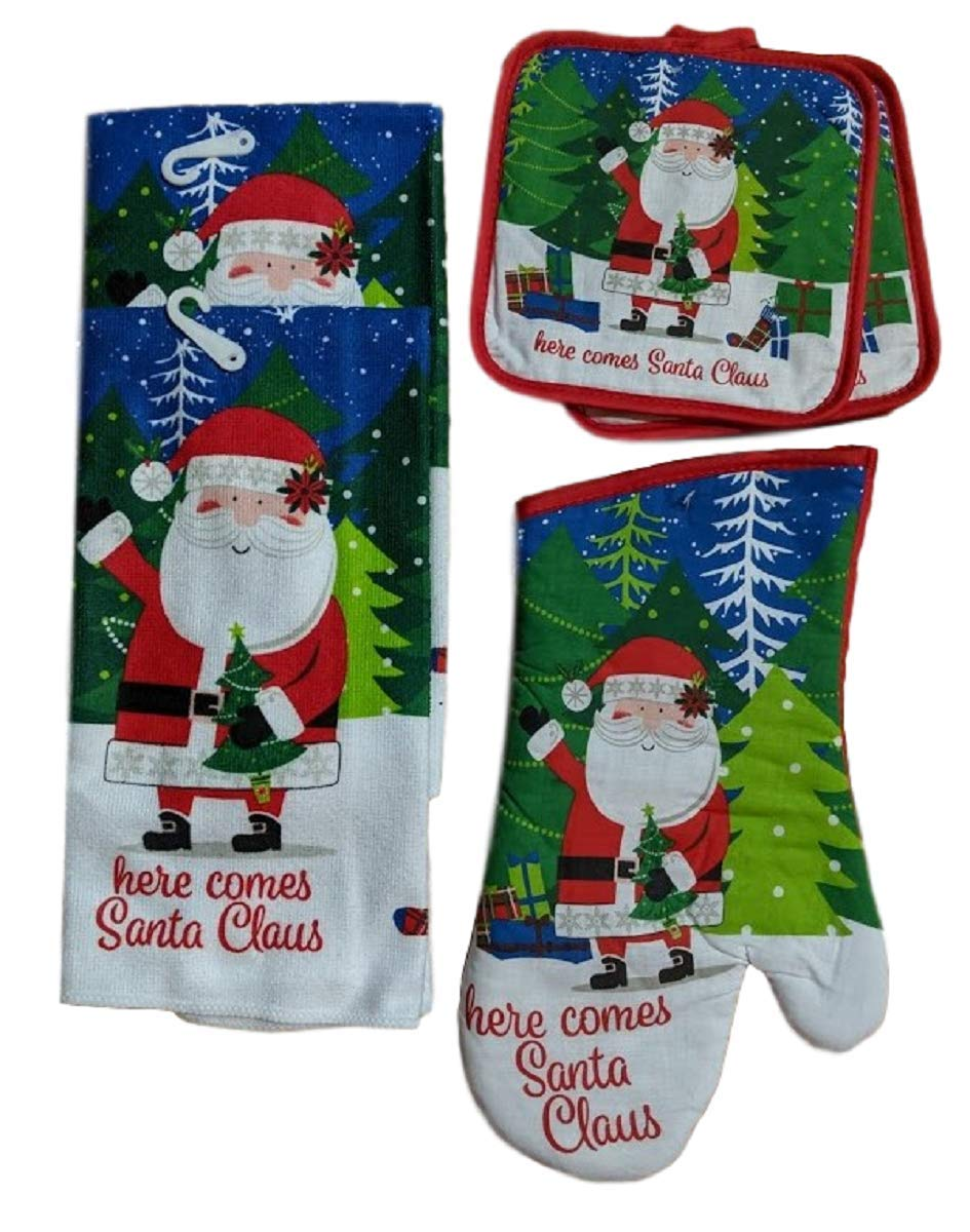 Greenbriar Christmas House Holiday Kitchen Towel Set, Towels, Pot Holders, Oven Mitt, Here Comes Santa Claus