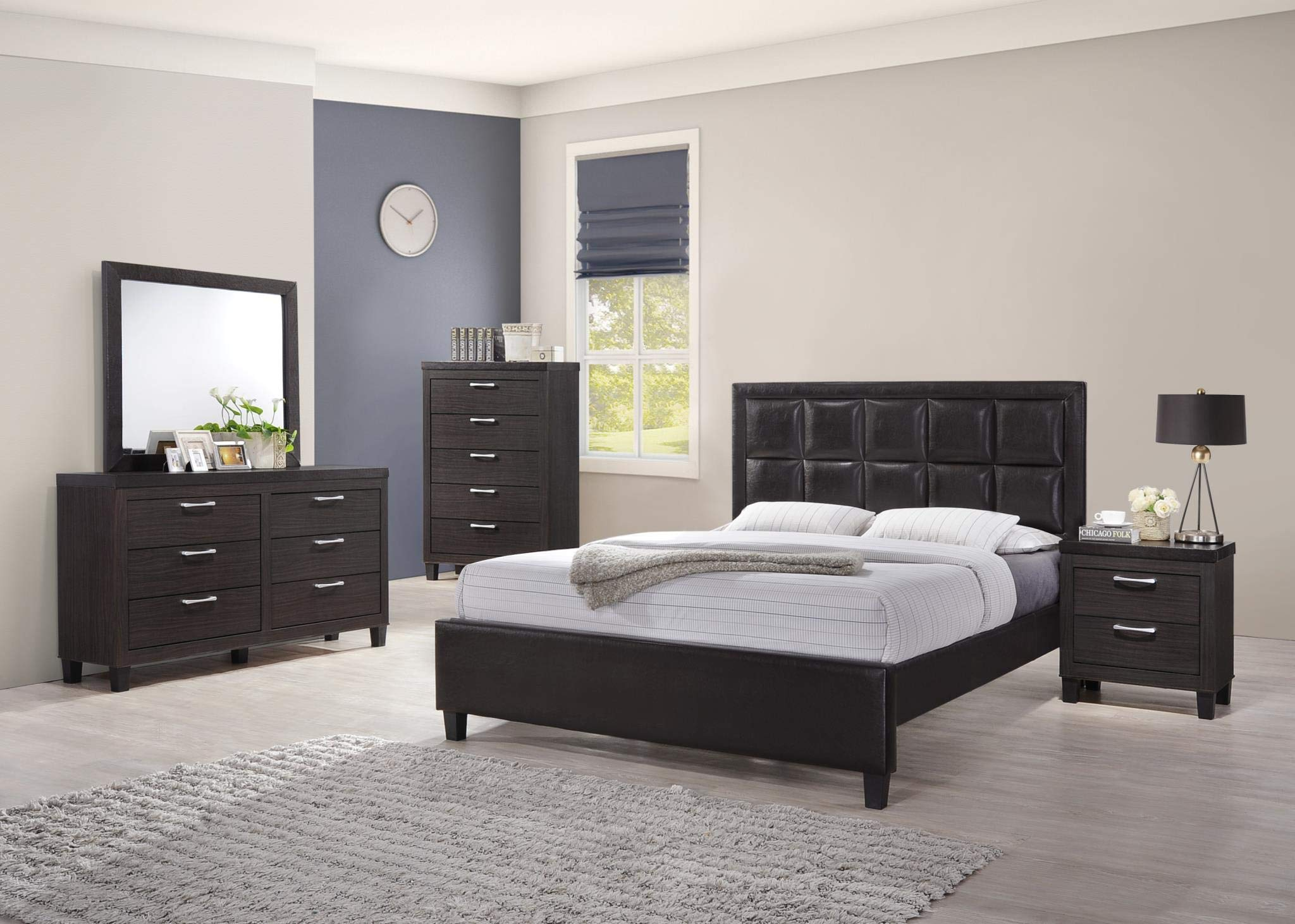 GTU Furniture 5Pc Queen Wood Storage Bedroom Set (Bed + Night Stand + Mirror + Dresser + Chest, Queen) (5Pc-Bed+Night Stand+Mirror+Dresser+Chest) by GTU Furniture